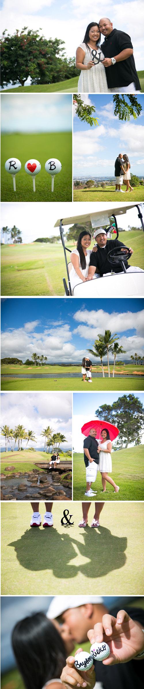 Hawaii Engagement Photo at Royal Kunia Golf Course